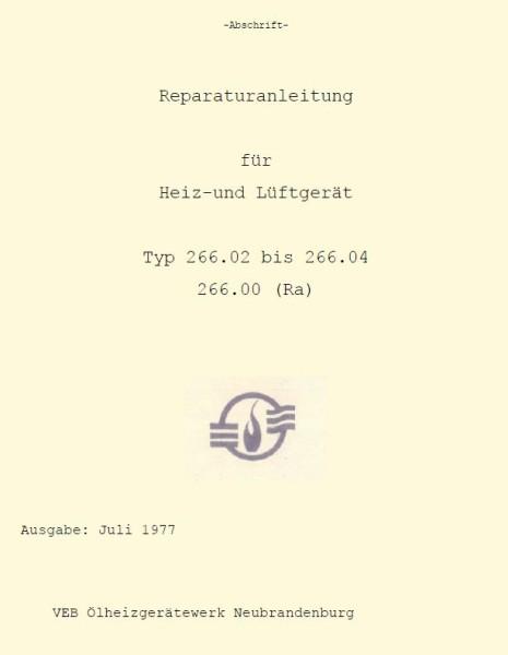 Sirokko 266.02-04 Reparaturanleitung